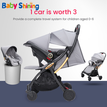 Baby Shining New Lightweight Folding Stroller Child Trolley 3 in 1 Baby Safety Seat Car Four-wheeled Umbrella Car image