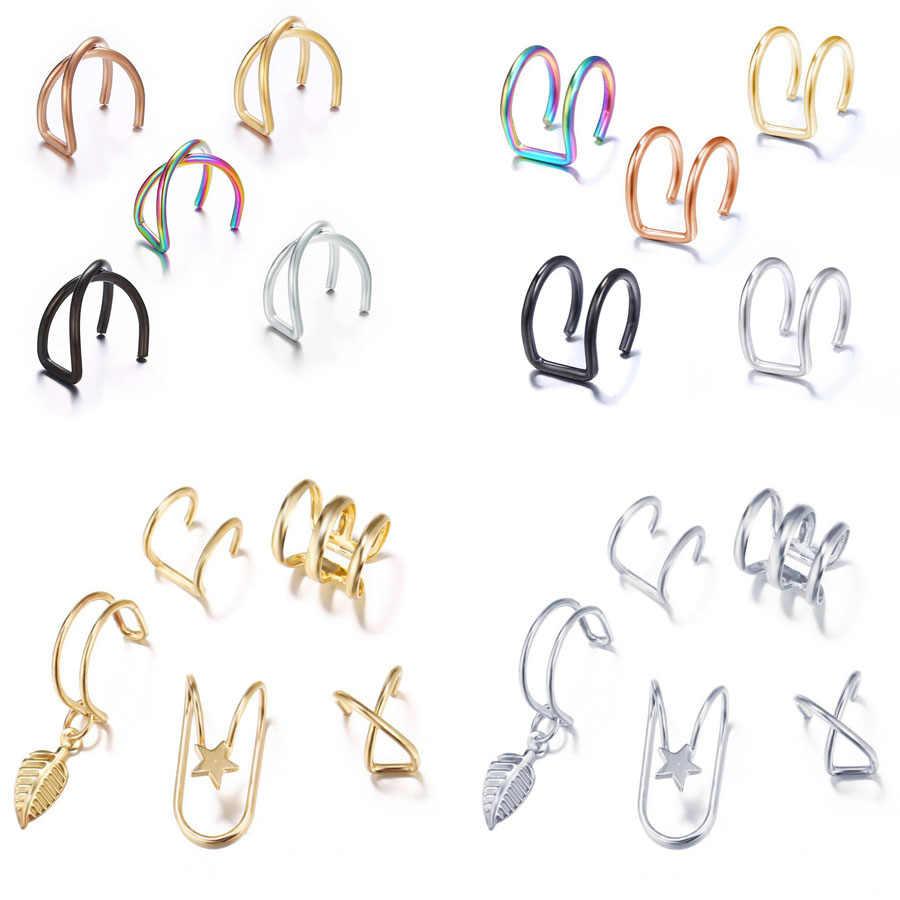 Keine Durchbohrten Ohr Clip Kreuz C Form Clip Auf Ohrringe Ohr Manschette Frauen Ohrringe Mode Gold Knorpel Punk Schmuck Ohr wrap Earcuff