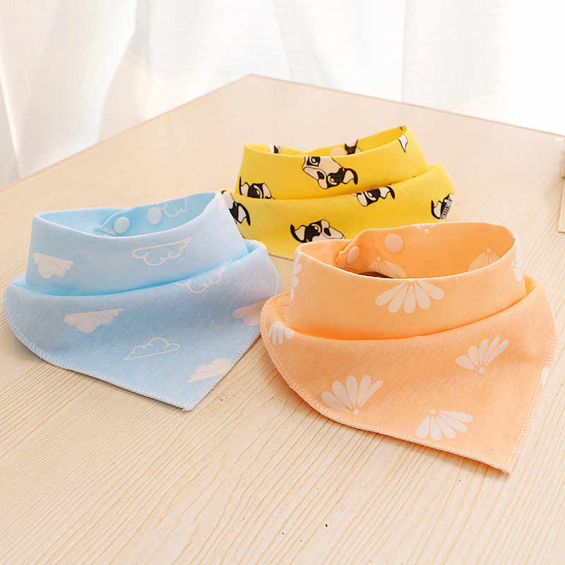 Baby Bibs For Boys Girls Bandana Bib Burp Cloth Print Cartoon Triangle Cotton Baby Stuff Scarf Meal Collar Feeding Accessories
