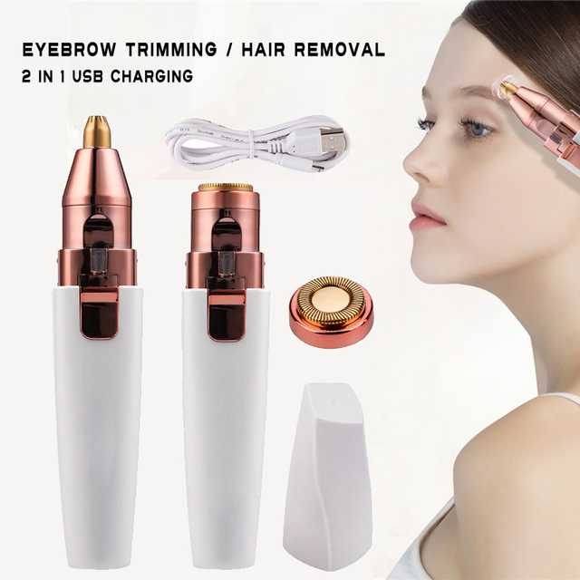 eyebrow trimmer pen 2 In 1 Facial Hair Remover Women depilator Makeup Painless Eye Brow Epilator Mini Shaver  USB charging SU313