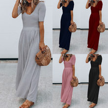 Summer Female Short Sleeves Solid High Waist Flare Maxi Dress Women Low Neck Casual Lady Long Jumpsuits