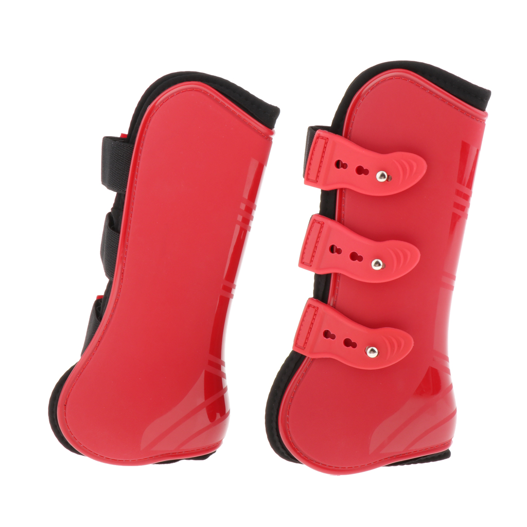 1 Pair Horse Support Boots, PU Secure Leg Protection Horse Tendon Boots Breathable Wrap, PU Shell And Neoprene Lining
