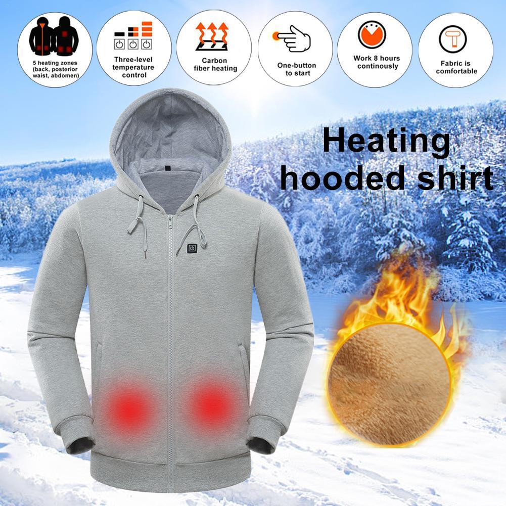 Heated Hoodie Temperature Controllable Fleece Hooded Sweatshirt for Men and Women