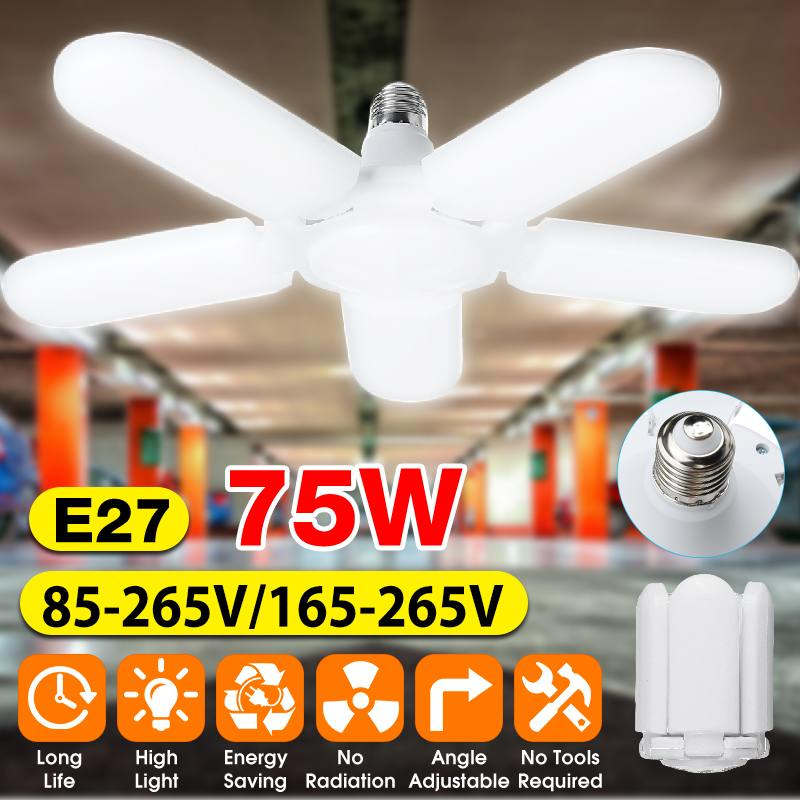 75W Foldable Fan Blade LED Pendant Lights E27 LED Bulb 85-265V 2835 Led Adjustable Angle Ceiling Lamp High Bay Industrial Lamp
