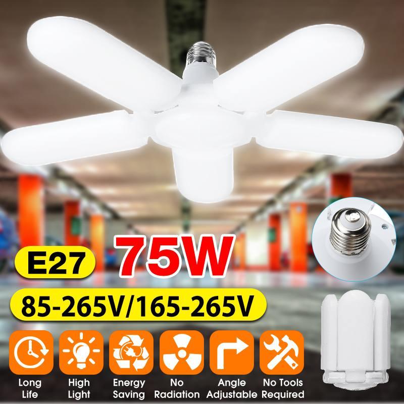 75W Foldable Fan Blade LED Pendant Lights E27 LED Bulb 85-265V 2835 Led Adjustable Angle Ceiling Lamp High Bay Industrial Lamp