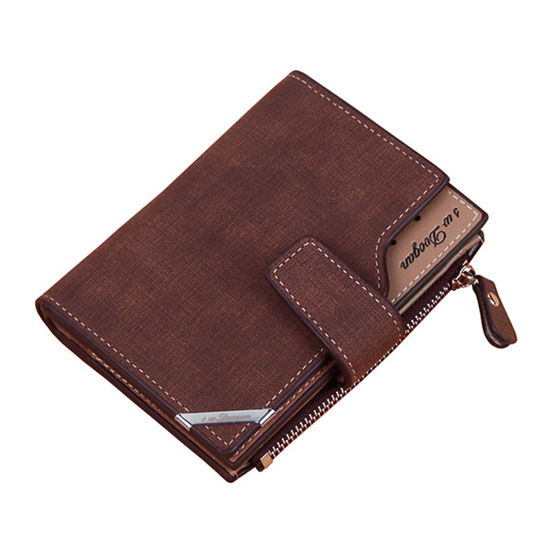 Hb5d9875abe564cc6bf3741603307db02d - New Business men's wallet Short vertical Male Coin Purse casual multi-function card Holders bag zipper buckle triangle folding
