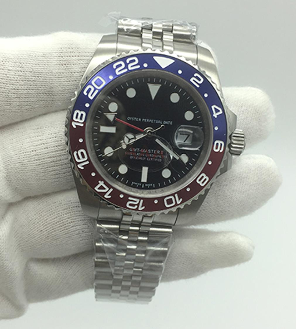 Men's watch automatic mechanical watch GMT stainless steel blue red ceramic sapphire glass 40mm men's Watch