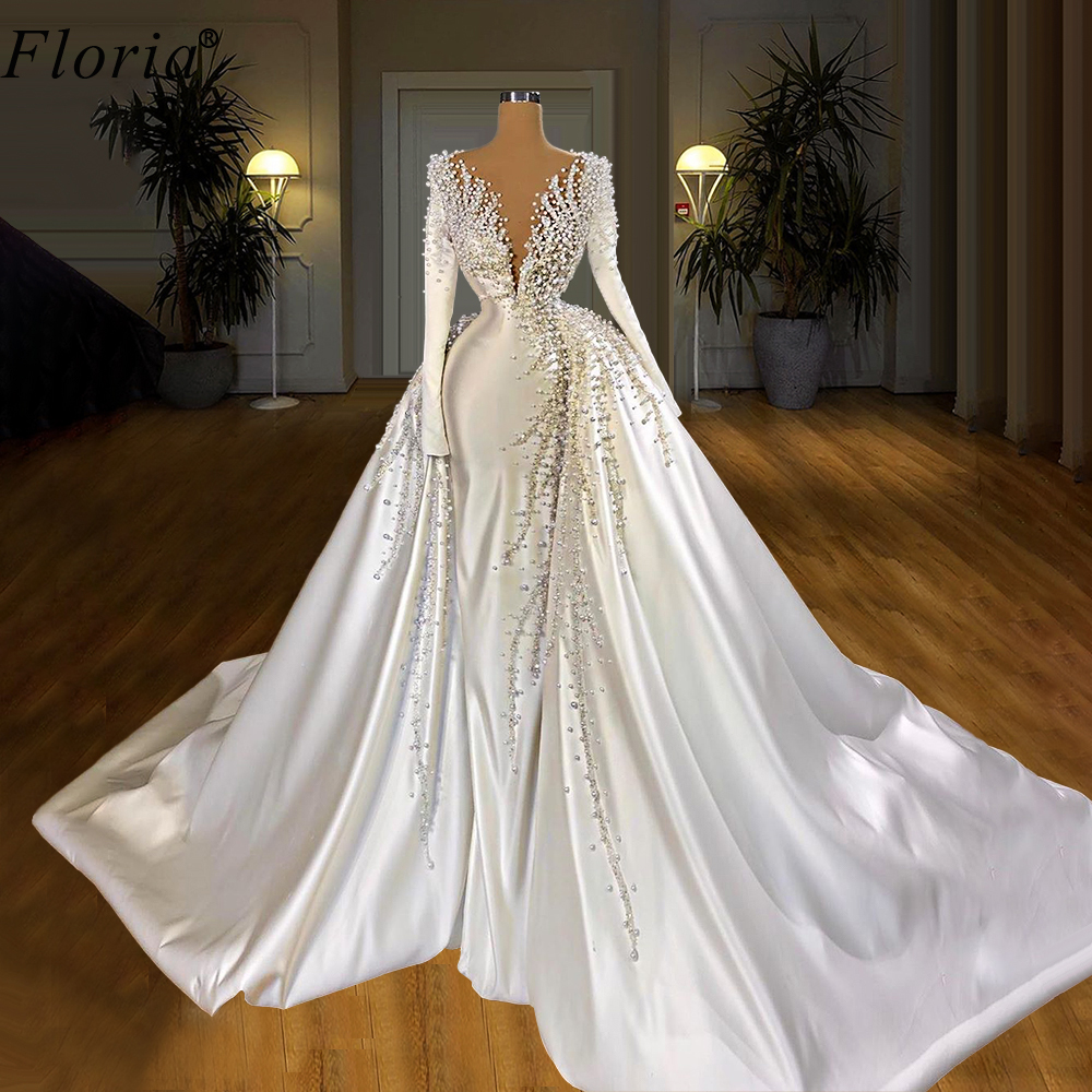 Two Designs White Wedding Dresses With Detachable Train Deep V Neck Long  Sleeves Wedding Gowns Vestido De Noiva 20 Custom
