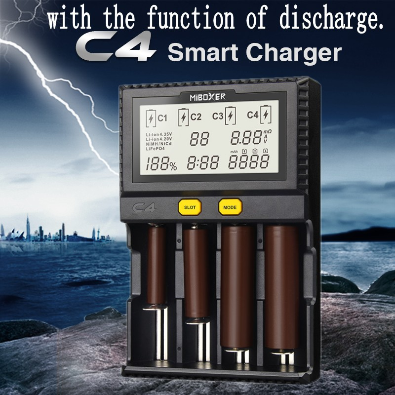 Original Miboxer C4 VC4 LCD Smart Battery Charger for Li-ion IMR INR ICR LiFePO4 18650 14500 26650 AA 3 7 1 2V 1 5V Batteries D4