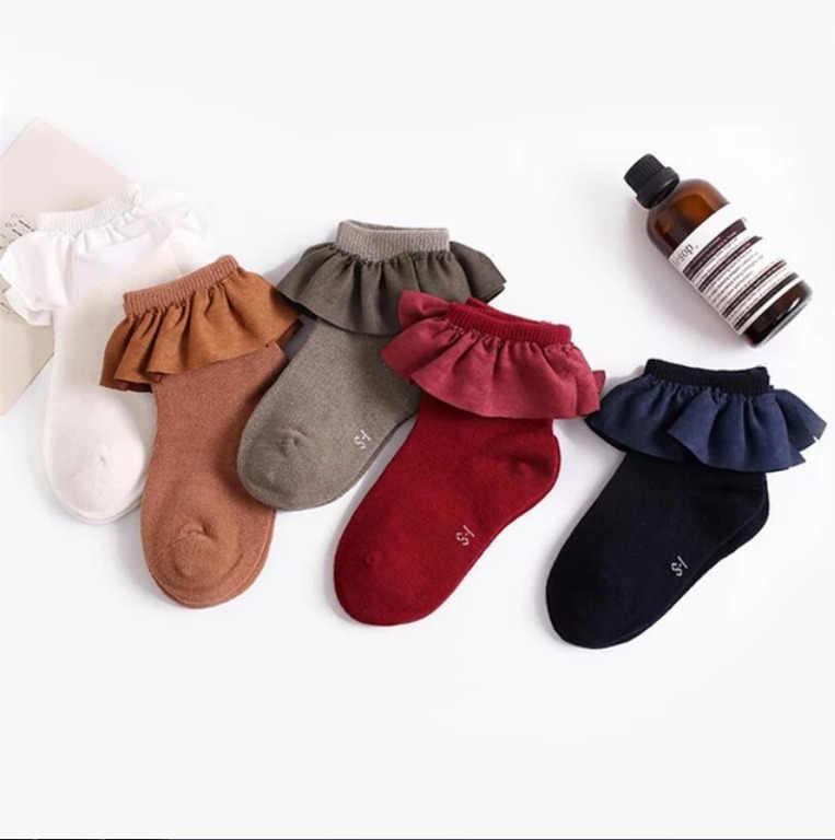 Детские короткие носки 5 цветов с кружевным рантом, забавные вязаные носки для новорожденных девочек 2-8 лет