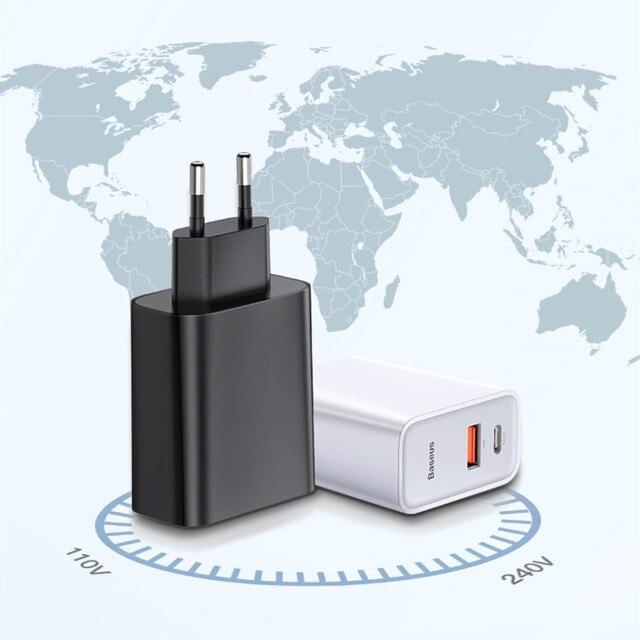 baseus quick charge 40 30 usb зарядное устройство типа c qc фотография