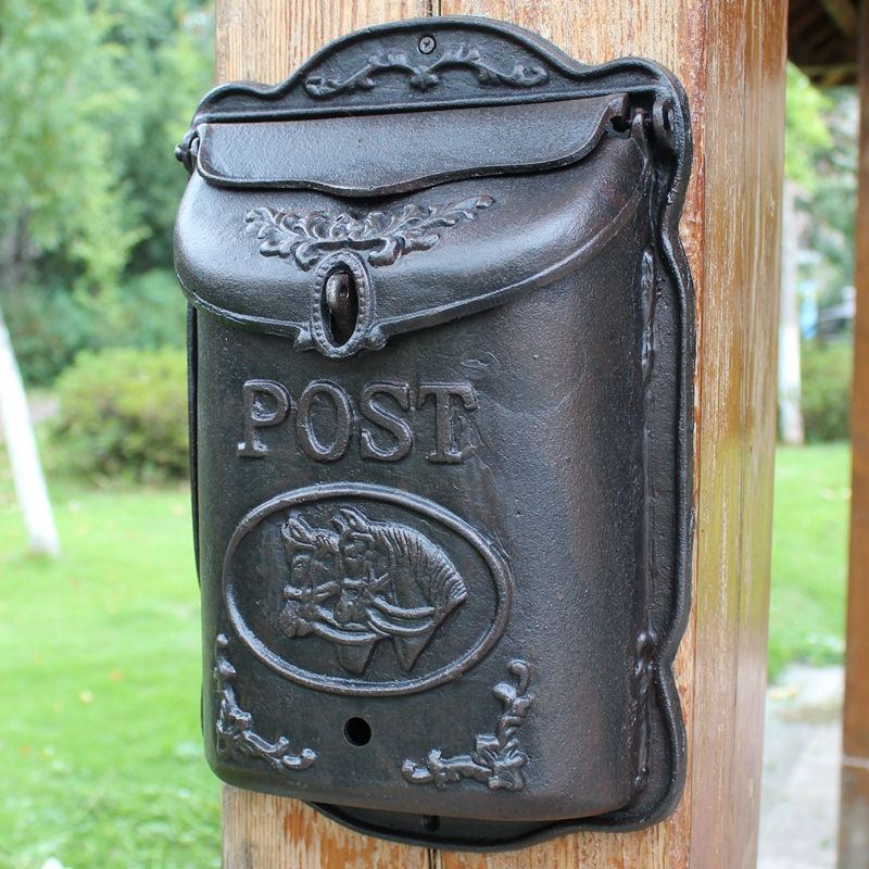 Heavy Cast Iron Mailbox Wall Mounted Horse Animal Wrought Mail Letter Post Box Metal Postbox Garden Home Outdoor Decoration