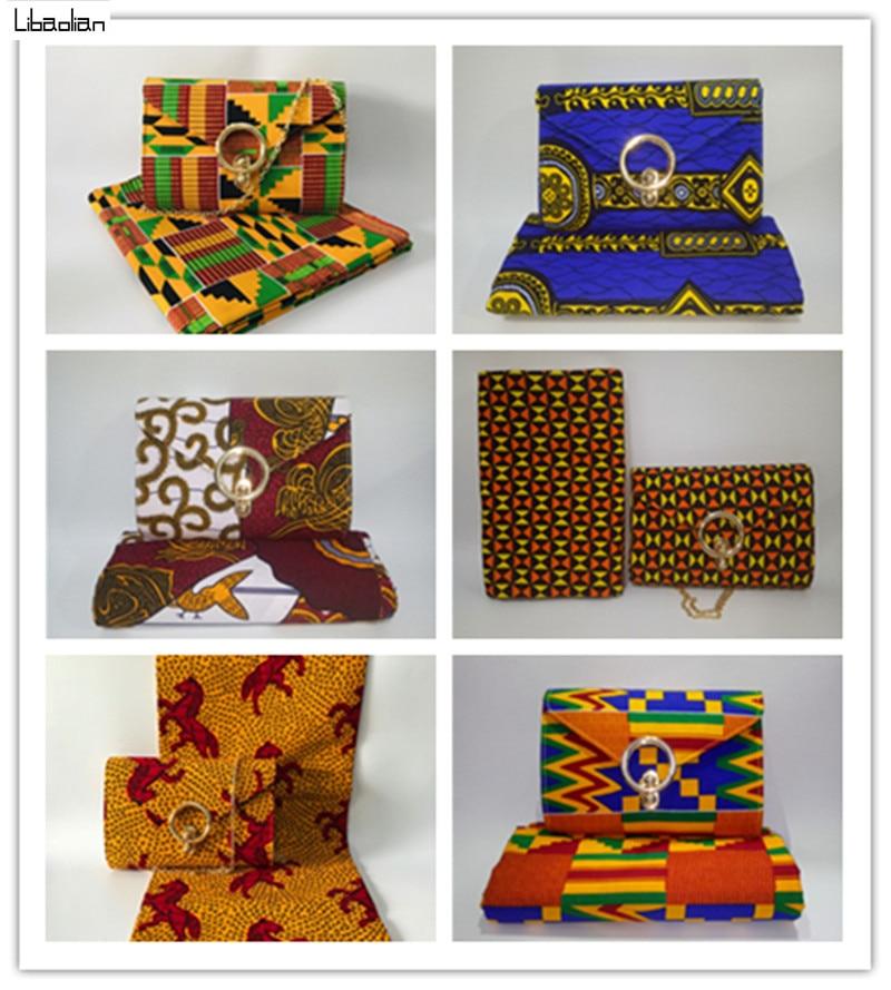 Elegant Ankara Wax Prints Kente Style Women Handbag Matching 6yards Cotton Material For Cloth Hot Selling Shoes Sets 36-43 97-30