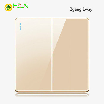 High-grade 1 2 3 4 gang 1 2 way big panel Golden switch socket Type 86 Wall 2.5D Cambered Mirror Toughened glass Computer TV 9