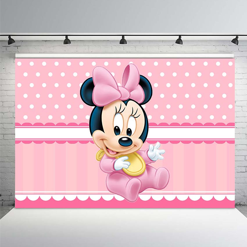 Pink Baby Shower Minnie Mouse Photography Background Backdrop White Polka Dots