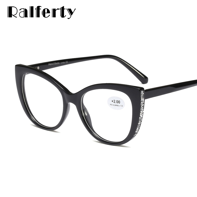 Ralferty Luxury Diamond Reading <font><b>Glasses</b></font> Women 2020 Cat Eye Presbyopia <font><b>Glasses</b></font> Magnifying +0.<font><b>5</b></font> +<font><b>1</b></font>.0 +<font><b>1</b></font>.<font><b>5</b></font> +2.0 +2.<font><b>5</b></font> +3.0 +3.<font><b>5</b></font> +4.0 image