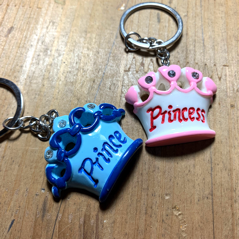 Free shipping Fast Delivery Wedding Favor Prince Baby Shower Keychain Favor Key Ring Crown Themed Prince Key Chain Favors