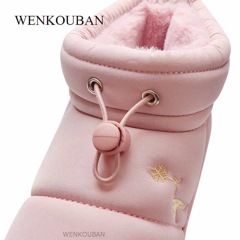 Yarım çizmeler kadınlar için kış su geçirmez kar botları peluş kama ayakkabı bayan sıcak Platform çizmeler kürk astarı ayakkabı Botas Mujer