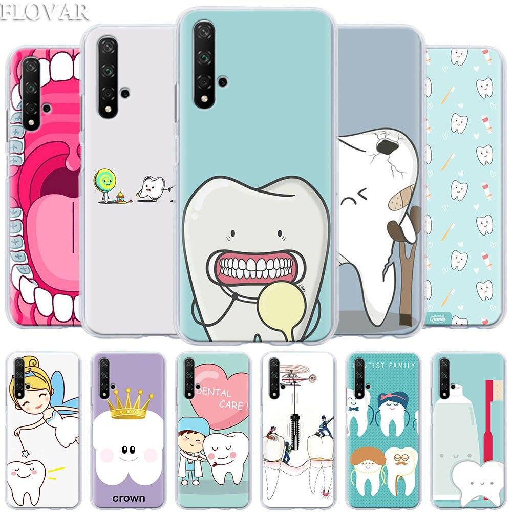 Teléfono caso coque por Honor 20 Pro 9 10 Lite 8X 8A 8C 8S 9X Pro Y7 Y9 2019 fundas de PC duras para dientes de dentista V20