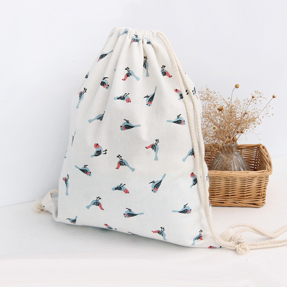 Drawstring Bags Women Sparrow Bird Drawstring Beam Port Backpack Shopping Bag Travel School Gym Storage Bag Softback Printing