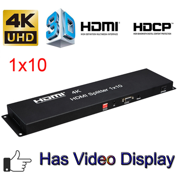 4K 30Hz HDMI Splitter 1x10 Full HD 1080P 60Hz 3D Video Converter Distributor 1 In 10 Out Output with EDID IR Extension Function