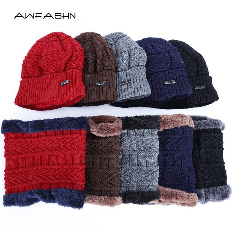 2019 New Winter Men's Knit Hat Scarf 2 Pieces Set Women Male Plus Velvet Thick Skullies Beanies Warm Soft Neck Balaclava Cap Ski