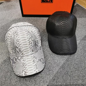 Authentic Exotic Python Leather Large Size Hip Hop Men Baseball Cap Genuine Real True Snakeskin Male Snapback Hat Adjustable Hat