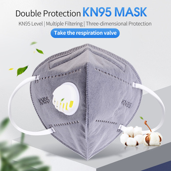 Gray KN95 Masks with valve 5 Layer Filter Anti-Dust droplet Face Mask Personal Protective Health Care Earloop Mask Fast Shipping