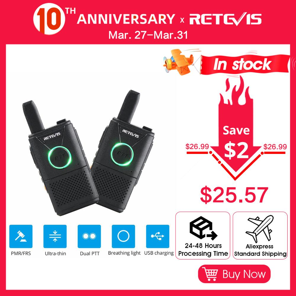 Mini Walkie Talkie 2pcs Retevis RT618/RT18 Radio Station Ultra-thin Dual PTT Two Way Radio Portable FRS PMR446 Frequency Hopping