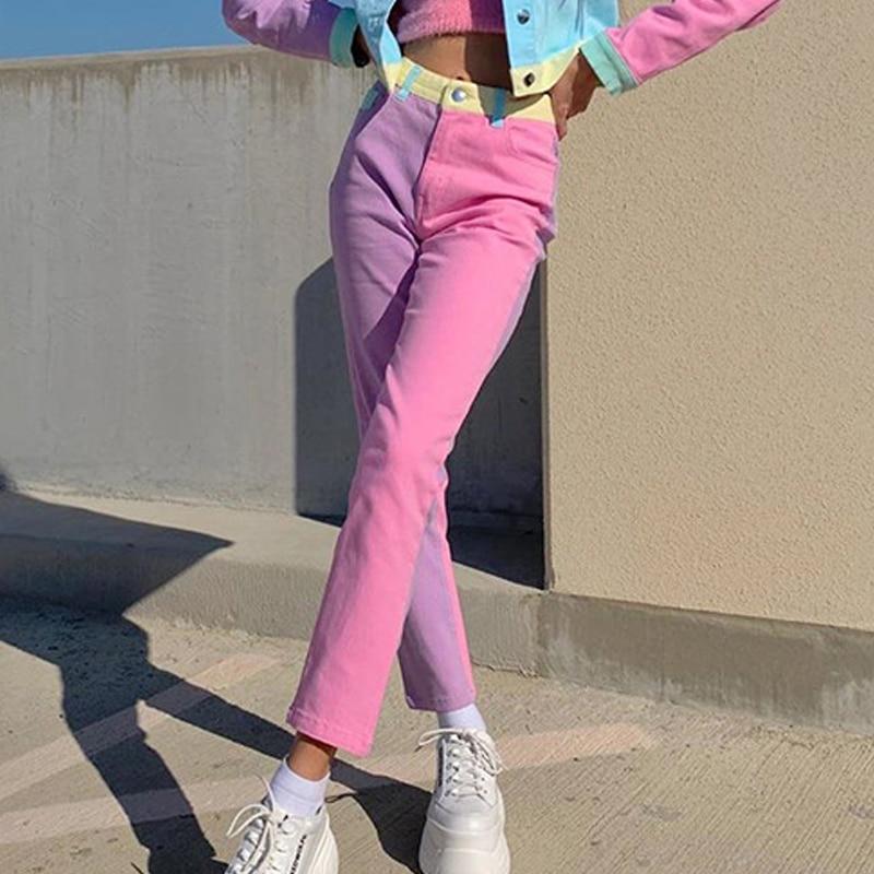 Pink Patchwork Straight Pants Long Trousers Ladies Streetwear High Waist Track Pants Capris Skinny Sweatpants Women Joggers