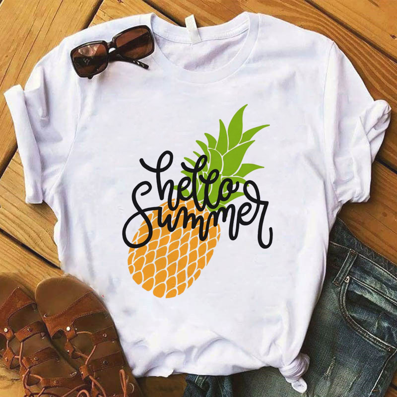 Women's T-shirt Pineapple Fruit O-Neck Clothing Printed T-shirt Casual Women Top Graphic T-shirt Women's Kawaii Camisas T-shirt