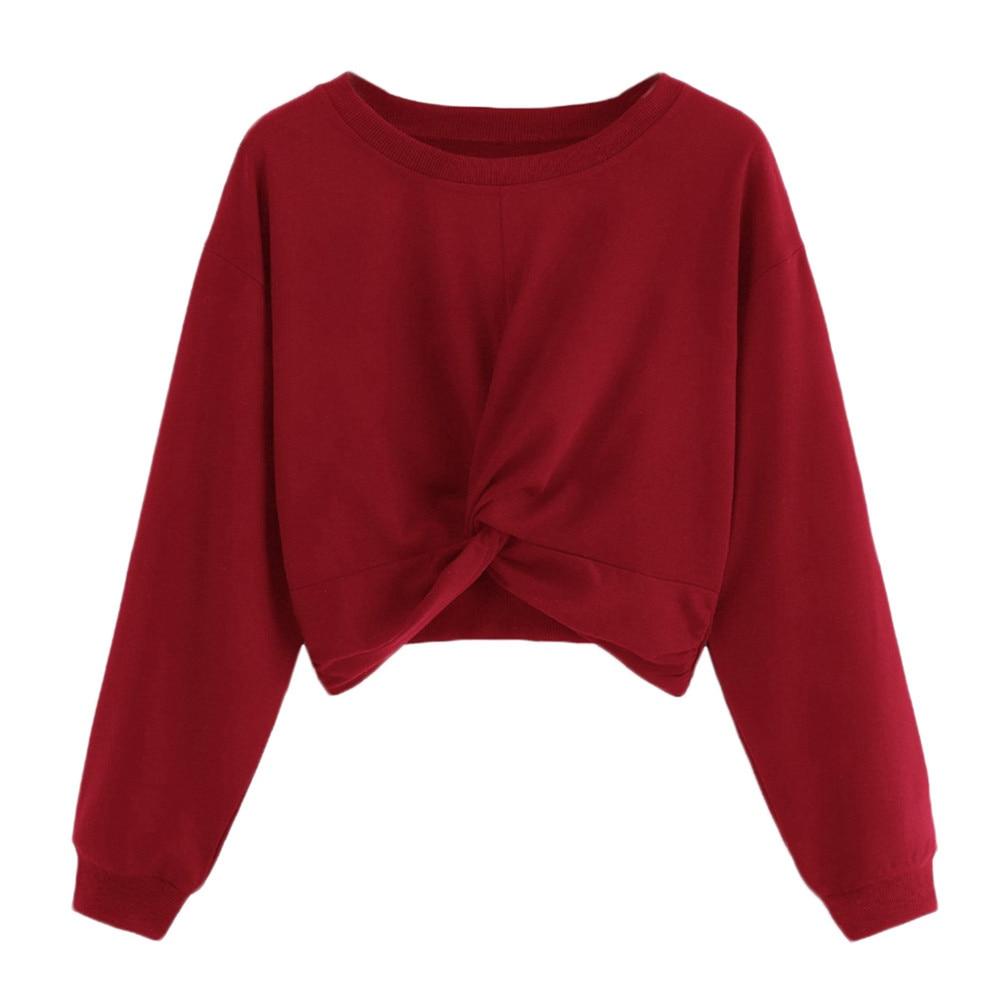 JAYCOSIN Fashion Women Twist Solid Color Round Neck Sweatshirt Unique Elegant Comfortable Casual Soft Chic Loose Blouse