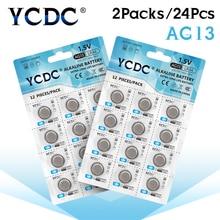 YCDC 24 шт. 1,5 V AG13 Батарея LR44 L1154 RW82 RW42 SR1154 SP76 A76 357A пила lr44 SR44 AG 13 щелочные батареи таблеточного батарейки-таблетки