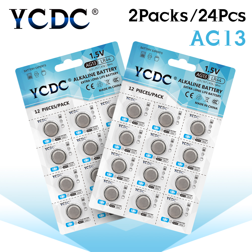 YCDC 24pcs 1.5V AG13 Battery LR44 L1154 RW82 RW42 SR1154 SP76 A76 357A pila lr44 SR44 AG 13 Alkaline Button Cell Coin Batteries(China)