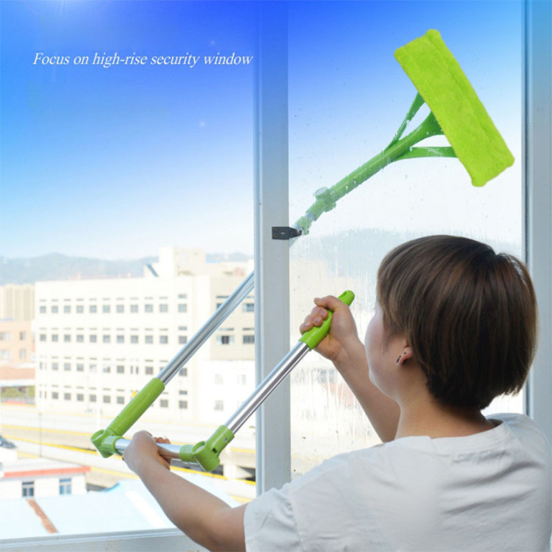 Telescopic Glass Window Washing Cleaning Brush Window Cleaner High rise Sponge Cleaner Brush Dust Cleaner Household Clean Tools