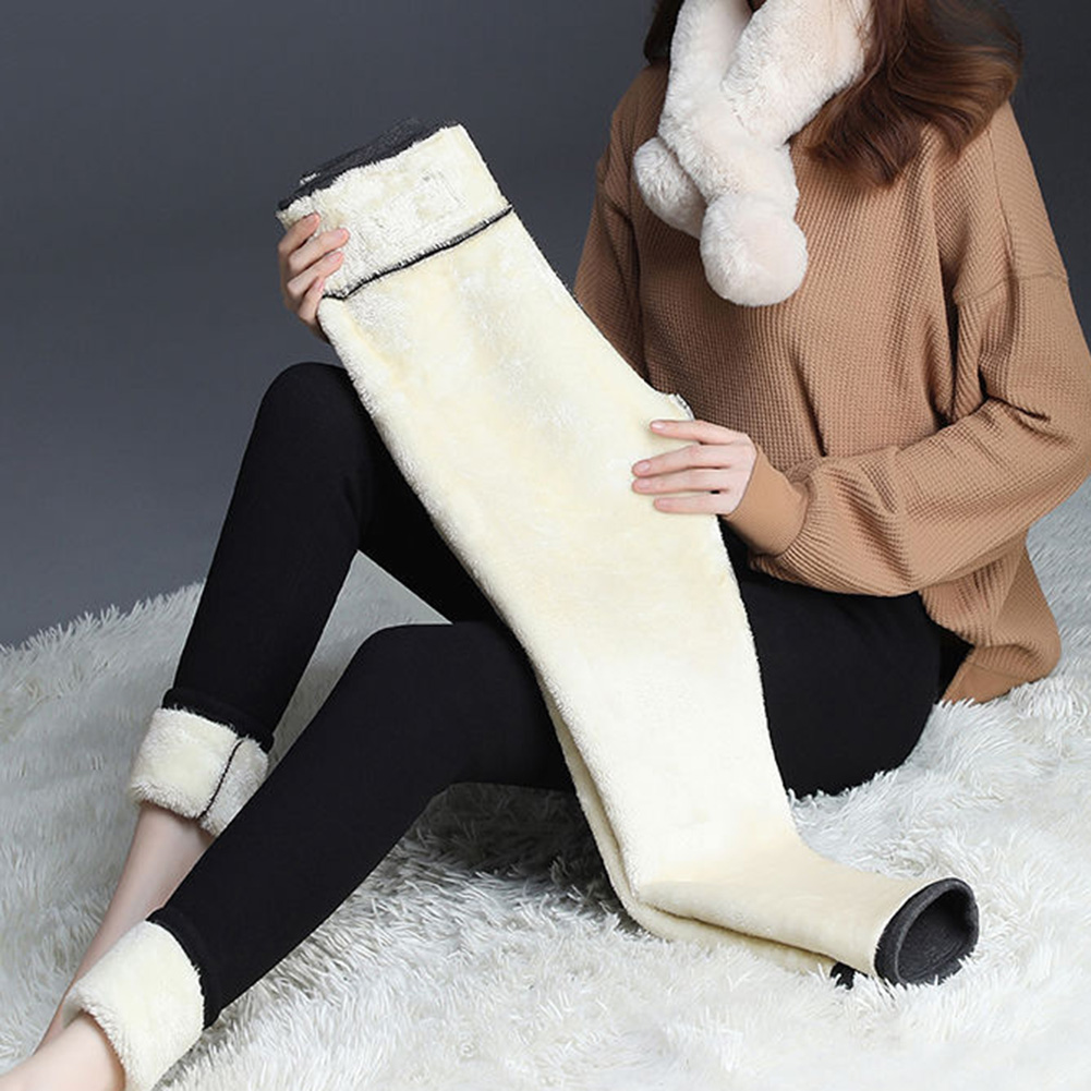 Warm Pants Winter Skinny Thick Velvet Wool Fleece Girls Leggings Women Trousers Lambskin Cashmere Black/Gray Leggings HX1106
