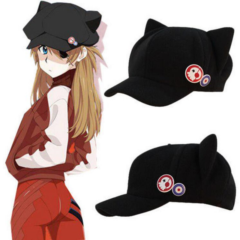 Anime Evangelion Eva Asuka Langley Soryu Cosplay Cat Ear Hat Peaked Cap With Badges Coser Accessories Role Play Gamer(China)