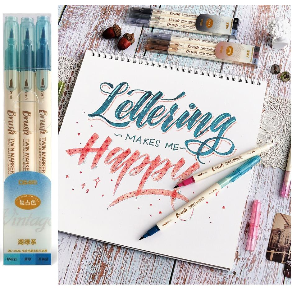 3 stücke Retro farbe Twin Marker Stifte Set Pinsel Zeichnung Feine Liner Tinte Auf Wasserbasis Blendable Aquarell Kunst Malerei Schule a6133