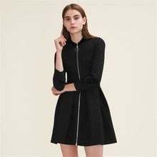 2019 Autumn New Fashion Temperament Nine-point Sleeves Waist Fold Vertical Collar Dress Zippers O-Neck Black Sexy Women