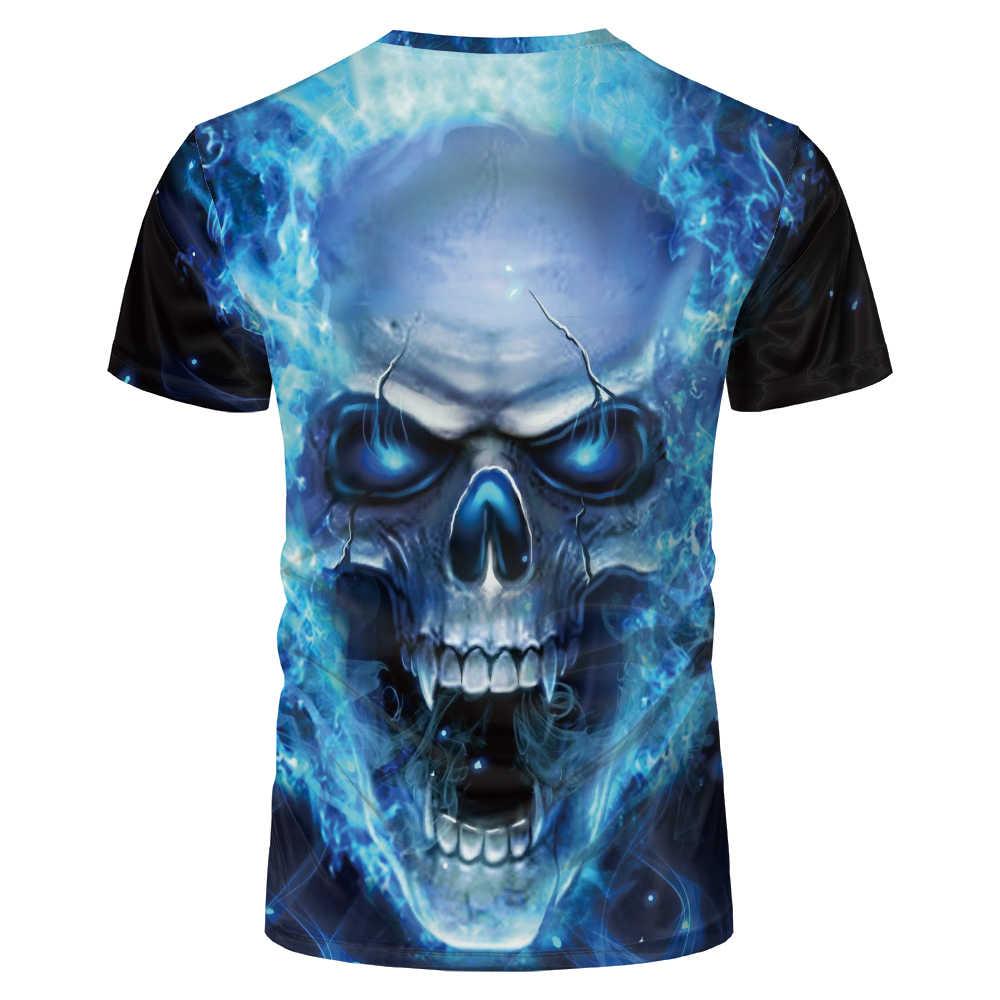 Sommer Neue Übergroßen 3D T-Shirt Europäischen Und Amerikanischen Mode Rot Blau Schwarz Weiß Flamme Druck Schädel Männer Frauen Große T hemd