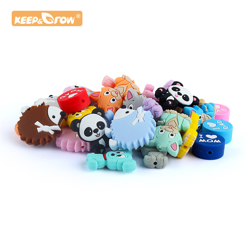 Keep&Grow 2pcs Silicone Beads Cute Cartoon Animal Puppy Cat Hedgehog Baby Teething Beads BPA Free DIY Pacifier Chain