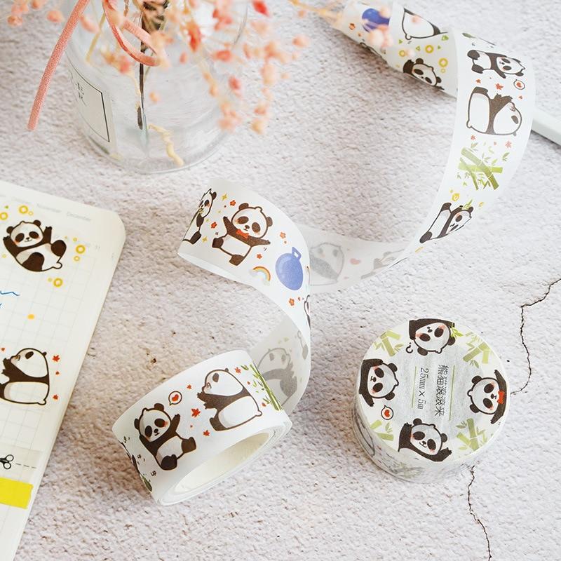 2.5cm * 5M Kawaii Panda Wahi Paper DIY Hand Account Diary Decorative Washi Tape Stick Label