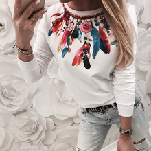 купить New Spring Ladies White Casual Street Daily Top Pullover Autumn Women Crew Neck Feather Print Long Sleeve Sweatshirt Tops дешево