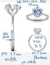 14k oro blanco nos 3,5 1,2mm redondo DEF anillo 3/4 pavimentar banda 10mm Color GH OEC anillo Central Fedex envío rápido