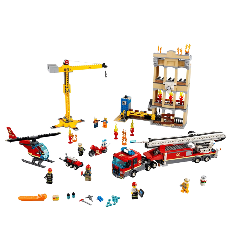 2019 New Downtown Fire Brigade Ladder Truck Crane Helicopter Compatible Legoingly City 60216 Building Blocks Toys Christmas Gift