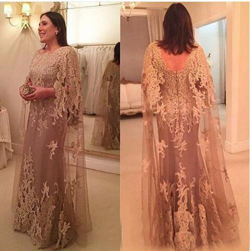 Mother Of The Bride Dresses Dinner For Women Vestido De Madrinha Robe Mere Cheap Lace Appliques Long Sleeve Evening Dress 2019