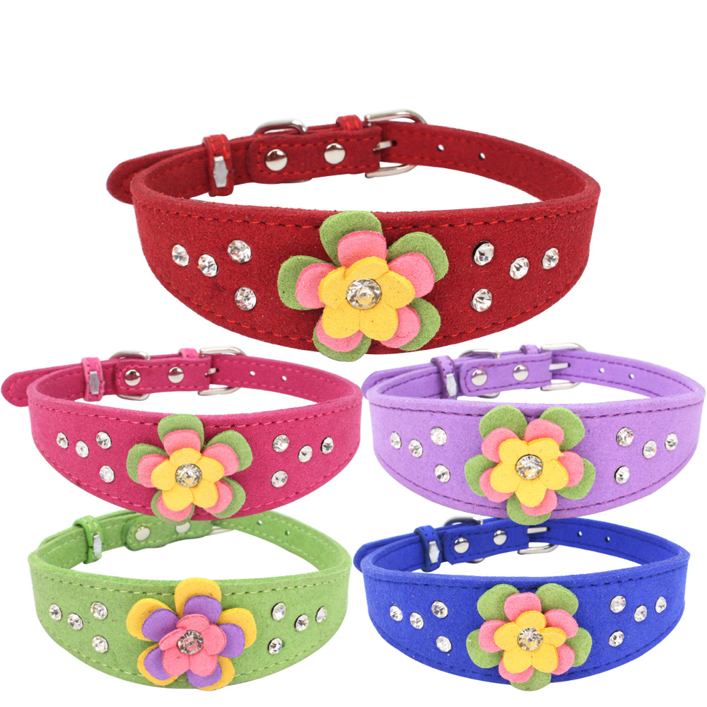 Jin Ling Jie New Products Man-made Diamond Small Flower Neck Ring Comfortable Soft Microfiber Tenacity High Dog Chain Large Amou