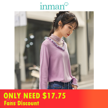 INMAN 2019 Autumn New Arrival Lace Stand up Collar Contrast Color Agaric Lace Lady Elegant Fake Two Pieces Women Pullover