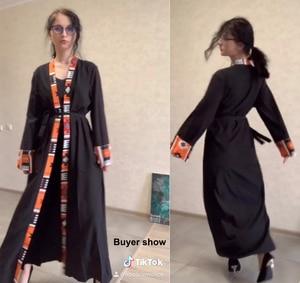 Image 5 - דובאי קפטן מוסלמית בגדים אסלאמיים העבאיה שמלת נשים שרוכים קפטן ארוך גלימת חיג אב שמלת גדול נדנדה גלימת קפטן קימונו Jubah