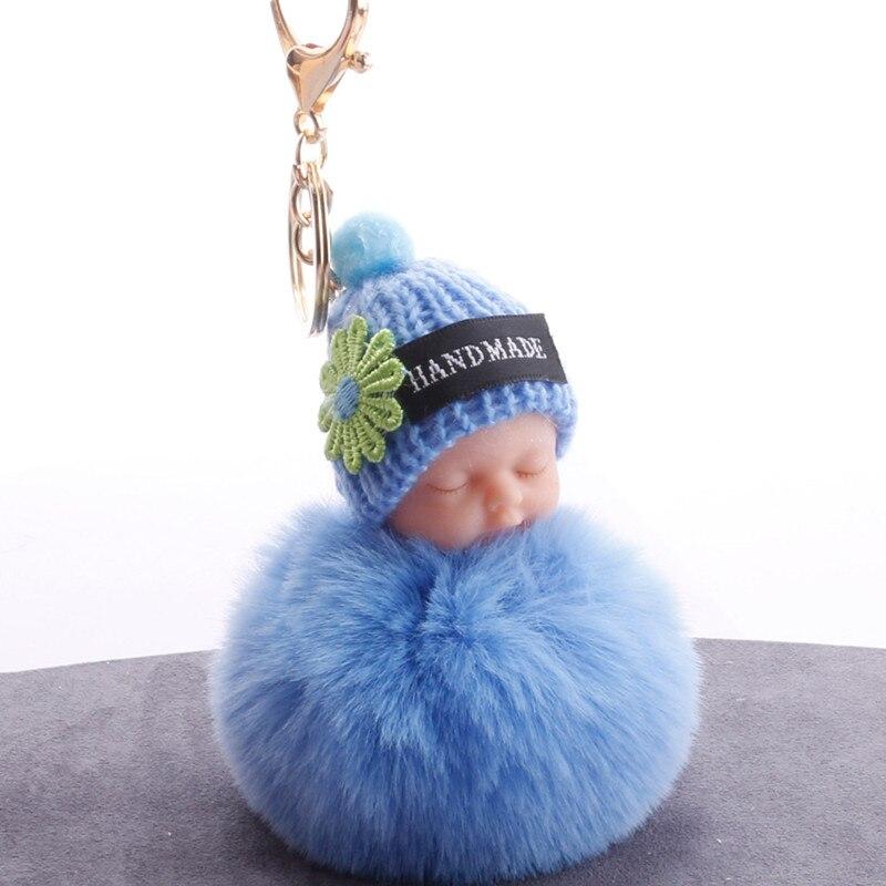 Cute Sleeping Baby Plush Doll Kids Baby Toy Fur Ball Key Chain Pendant Girl Bag Ornaments